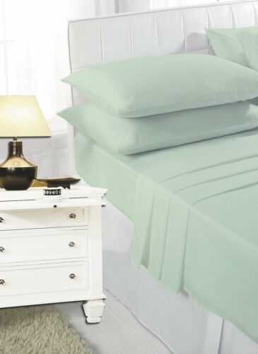 Easy Care Plain Dyed Fitted Bed Sheet Percale Single Double King Super King New