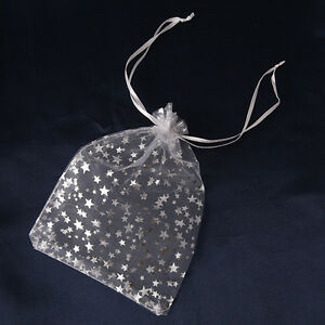 50x-New-Silvery-Stars-Style-Organza-Wedding-Party-Pouch-Gift-Bags-13x18cm-Lots-C