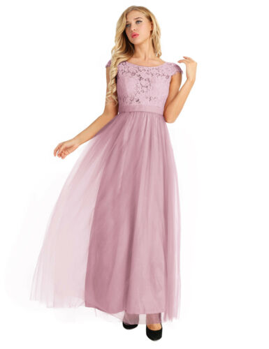 Women Formal Long Dress Party Lace Tulle Bridesmaid Dress Long Evening Prom Gown