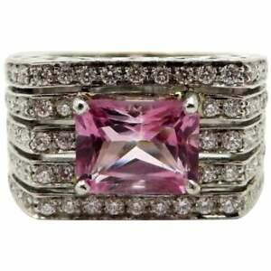 18K-White-Gold-Pink-Tourmaline-amp-Diamond-French-Hallmarked-Designer-Ring-Size-7