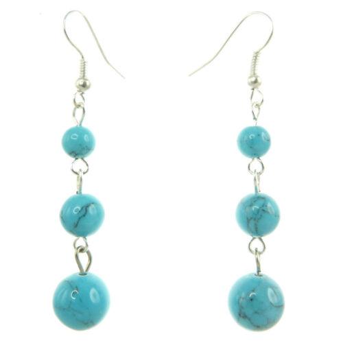 Boucles D/'oreilles femme Pendantes Bleu clair perles pierre imitation turquoise