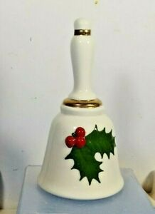 COLLECTIBLE-CERAMIC-DINNER-BELL-HOLLY-BERRY-GOLD-TRIM-HOLIDAY-CHRISTMAS-DECOR