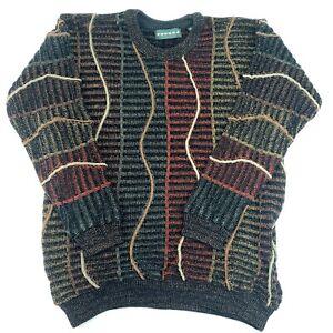 Tundra-HERREN-STRICK-PULLOVER-COOGI-Style-Multicolor-3d-Kanada-Vintage-Groesse-M-EUC-VTG