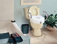 Carex E-z Lock Raised Toilet Seat With Arms , New, Free Shipping on sale