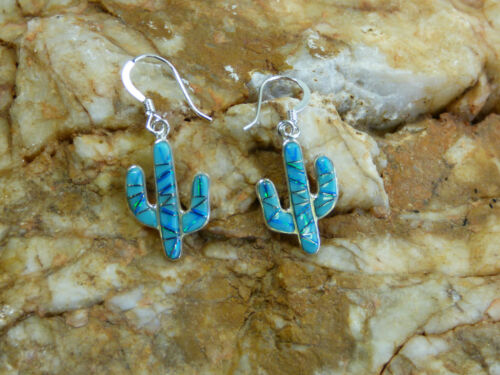 Saguaro Cactus Sterling Silver Turquoise Opal Stone Inlay Pair of Earrings P