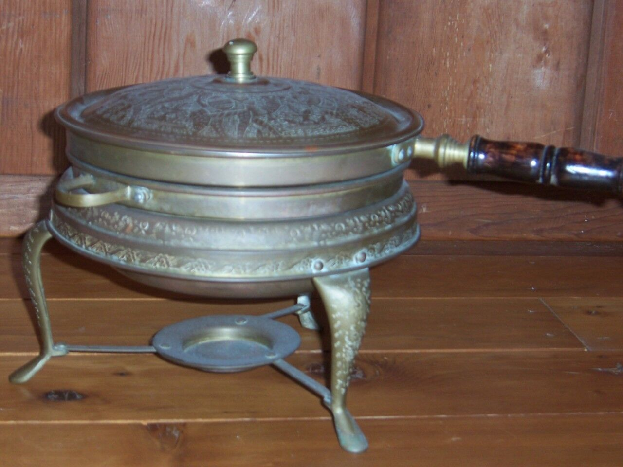 Middle Eastern Brass 3 piece Chafing Dish with wood handle    Antique
