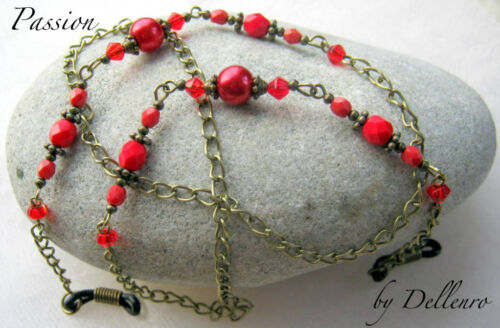 ✫ PASSION ✫ RED BEADED EYEGLASS GLASSES SPECTACLES CHAIN HOLDER CORD