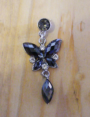 Smokey grey black butterfly phone charm plug anti-dust 3.5mm iphone 4 4s & more