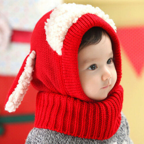 Toddler Kids Baby Boys Girls Hooded Scarf Cap Hat Winter Warm Knit Scarf Lovely