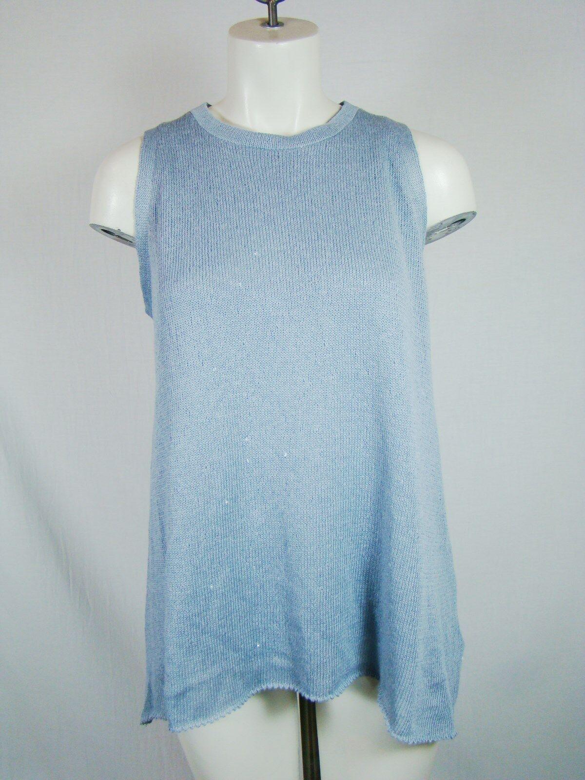 Brunello Cucinelli Sequin Linen Silk bluee Tank Top Sweater L Large