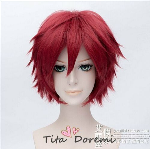 Halloween Wig Cosplay NARUTO Gaara Red short fashion Party Hair