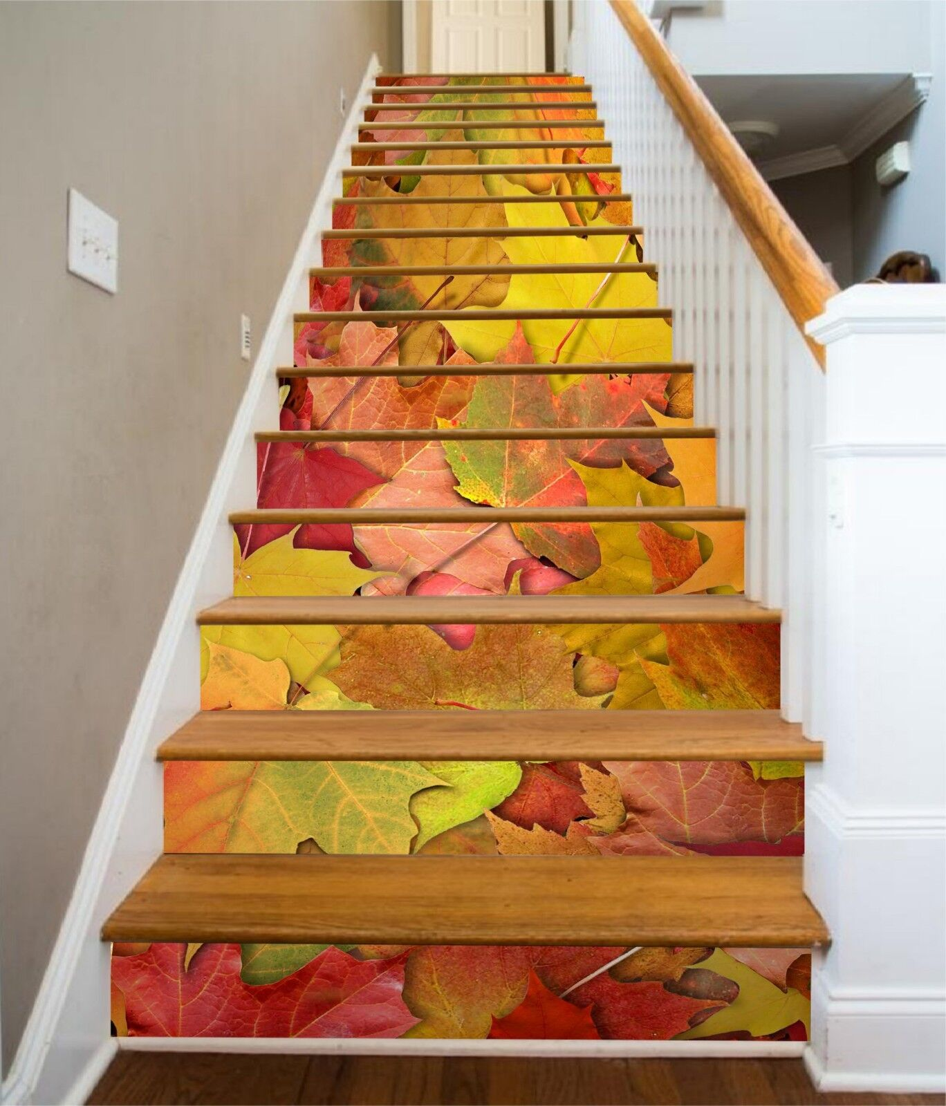 3D Leaves Pattern Stair Risers Decoration Photo Mural Vinyl Decal Wallpaper CA