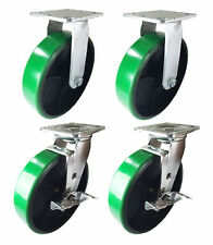4 Heavy Duty Caster 8 Polyurethane Cast Iron Wheels Rigid Swivel Amp Brake Green