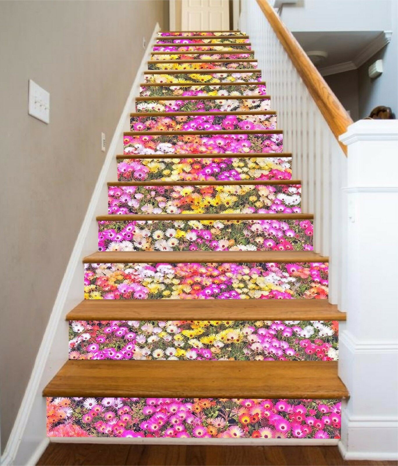 3D Couleur Flowers 33 Stair Risers Decoration Photo Mural Vinyl Decal Wallpaper AU