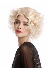 Parrucca Donna Carnevale Diva Hollywood corto ricci Riga centrale biondo chiaro