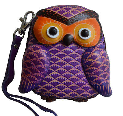 Lovely Baby Owl Shape Leather Wristlet Change//coin Purse Cute Brown or Purple