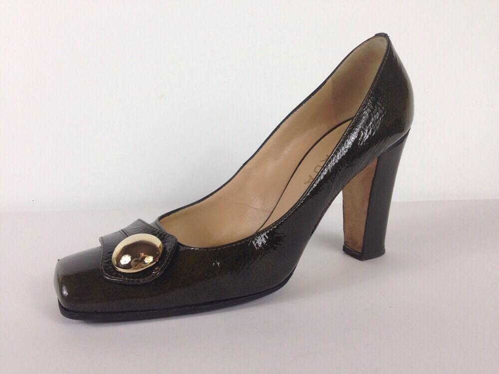 ESCADA Grün Patent Leather Square Toe Gold Tone Stud Pumps M Sz 38 M Pumps 4870a9