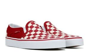Details about NIB VANS Women's 'ASHER' CHECKERBOARD Tango Red SLIP ON SHOES 8.5