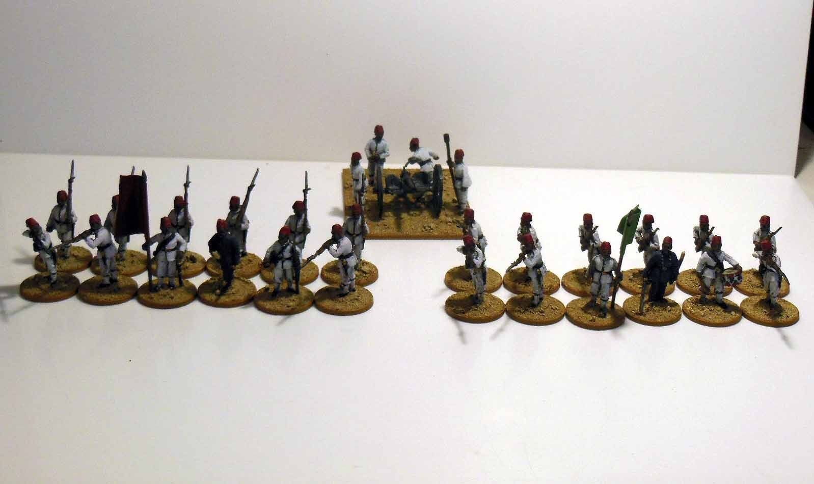 28mm Colonial   Sudan Egyptian Infantry & Krupp 6pdr - Metal - Painted & Based