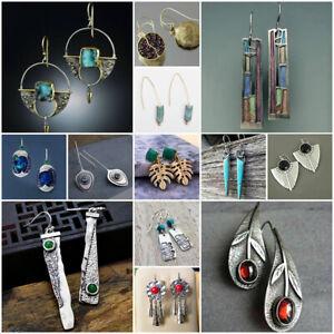 Vintage 925 Silver Turquoise Ear Hook Stud Dangle Drop Earrings Women Jewelry