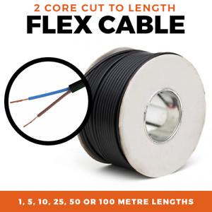 5M 50M 10M 100M 25M 2.5mm1M Black Flex Cable2 Core0.75mm