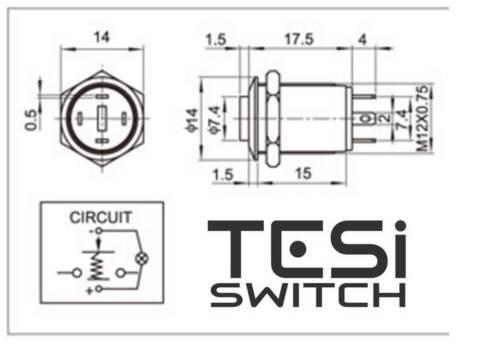 Tesi POCO 12MM LED Momentary Push Button Guitar Kill Switch Purple//Yellow