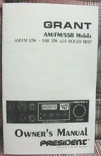 President Grant Export AM/FM/SSB CB Radio Owners Manual