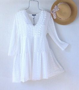 New~$68~White Crochet Lace Peasant Blouse Tiered Tunic Boho Top~Size Large L