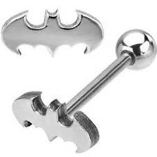"1 BATMAN BAT 3D LOOK LOGO 316L STAINLESS STEEL BARBELL TONGUE RING 14G 5/8"""