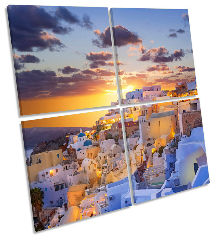 Santorini Greece Sunset CANVAS WALL ART Square Print Multi