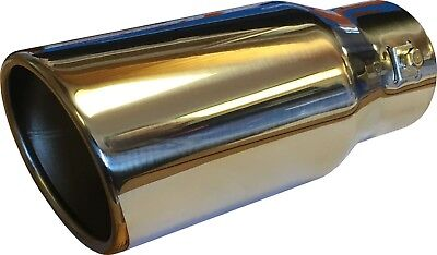 Steel Exhaust Trim Tip Muffler Chrome Tail Car Van 57mm Universal Curved Uk Stoc