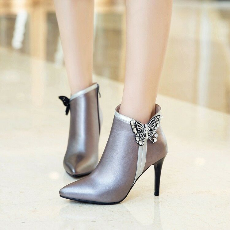 Womens Vogue Leather Pointed Toe Diamante Butterfly High Heel Ankle Boots shoes