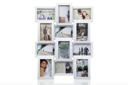 """1014 wt Multi Ouverture Cadre Photo-détient 12 x 6/"""" x4/"""" photos blanc"""