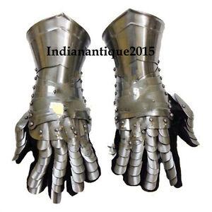 Armour-Gloves-Warrior-Medieval-Knigh-Gauntlets-Combat-Gauntlet-Metal-Hand-Glove