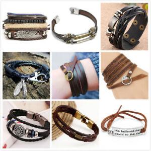 Fashion-Men-Women-Handmade-Genuine-Leather-Bracelet-Braided-Bangle-Wristband-Set