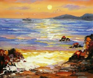 paysage marin vue mer bateau tableau peinture
