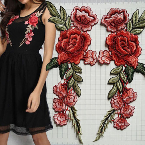 2x Women/'s DIY Embroidery Rose Sew On Patch Badge Hat Jeans Dress Applique Craft