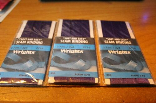 Wrights PLUM soft and easy seam binding 3 yds per pack 3 packs