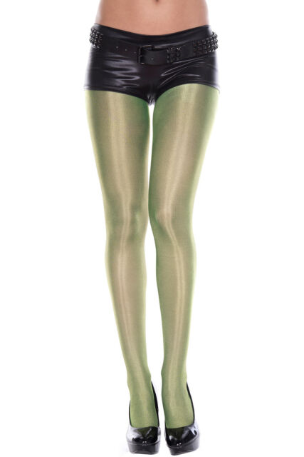 Poison Ivy Metallic Green Panty Hose Shiny Pantyhose Tights Costume 7180