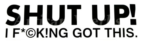 "/""SHUT UP I F*©KING GOT THIS/"" 9-inch Funny Decal Sticker car dash window bumper"