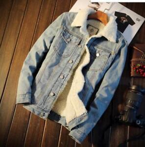 NEW-Men-039-s-Fleece-Lined-Winter-Warm-Coat-Trucker-Denim-Jean-Jacket-Fur-Collar