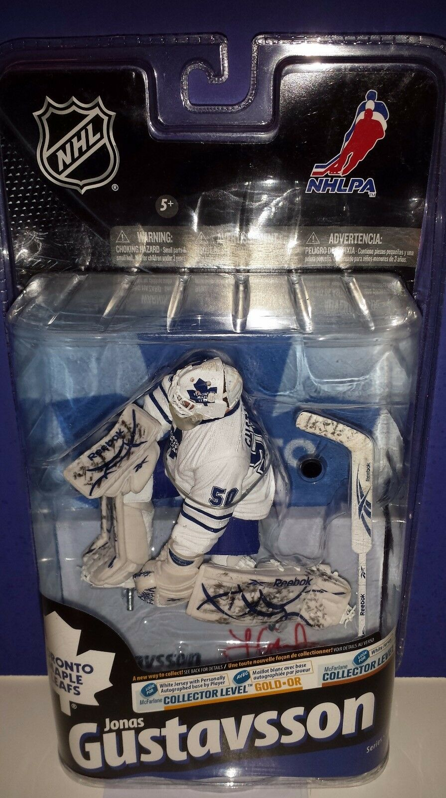 JONAS GUSTAVSSON Maple Leafs Cargraphed Variant CL Gold Mcfarlane 398 400 NEW