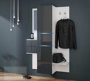 Garderobe Camino Neue Bessere Version Grau Hochglanzweiß Led