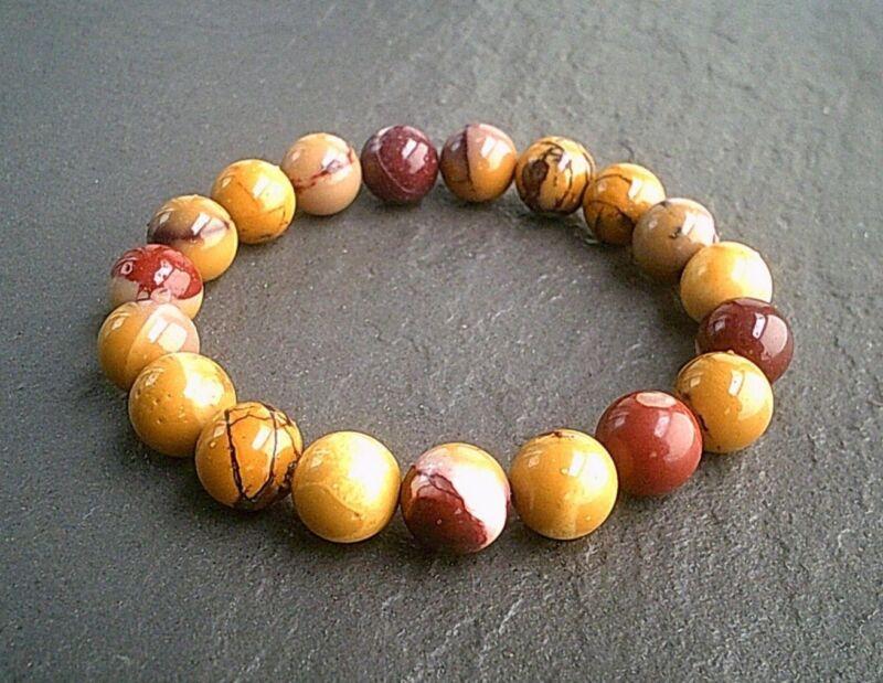 Women's Men's Natural Gemstone Beads Elastic Bracelet 10mm Mookaite Stones Uk