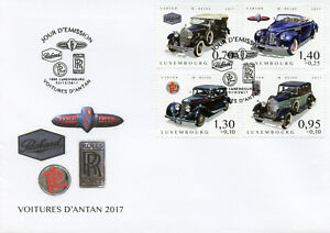 Luxembourg-2017-FDC-voitures-d-039-antan-PT-4-Rolls-Royce-BUICK-4-V-Cover-STAMPS