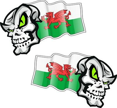 30cm WINGED Biker SKULL wings /& Welsh Dragon Wales CYMRU Flag car bike sticker