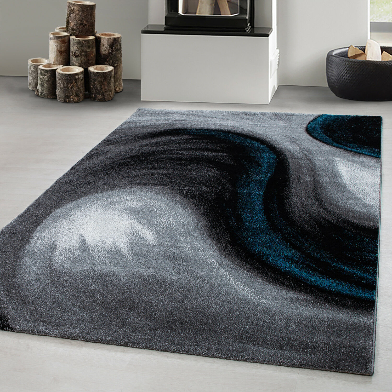 Designer Teppich Modern Kurzflor Abstrakt Wellen Muster Schwarzrau Türkis Weiß