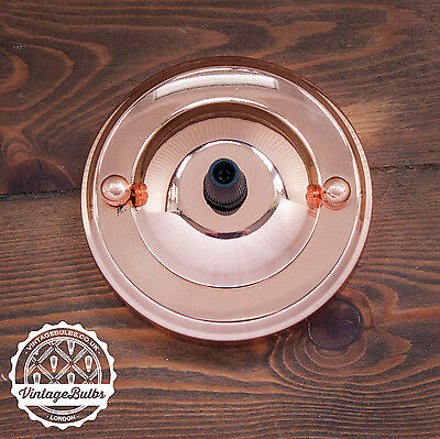 Vintage metal ceiling rose*** retro light fitting + cord grip 4 finishes