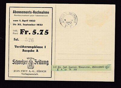 Switzerland Schweizer Zeitung printed Insurance card ...