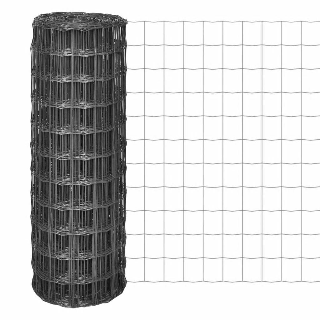 VidaXL Malla Euro Fence gris 25x0,8 m 77x64 mm Valla Cerca Verja Barda Reja